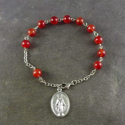 Red bead rosary bracelet with Miraculous medal