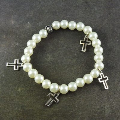 Cream pearl effect 8mm beads with cross and rose flower charms