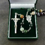 Green shades semi precious stone rosary beads 58cm length boxed