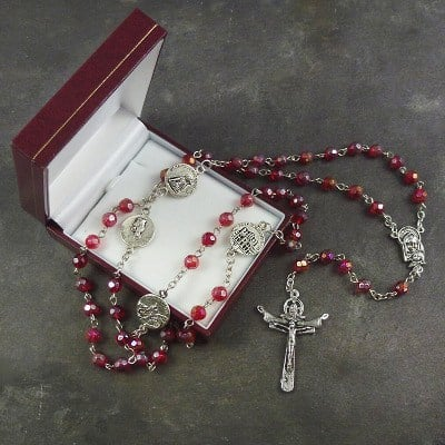 Red iridescent crystal glass trinity cross rosary beads and box