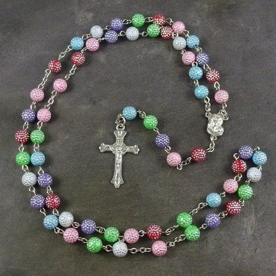 Pastel coloured rainbow plastic rosary beads 56cm length