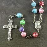 Pastel coloured rainbow plastic rosary beads 56cm length