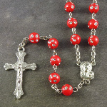 Red plastic round rosary beads with silver spotted detail 53cm length