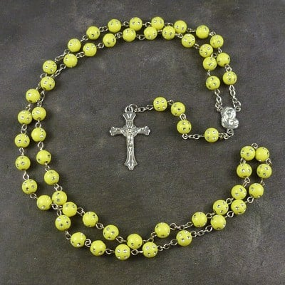 Yellow plastic round rosary beads with silver spotted detail 53cm length
