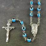 Bright blue eye resin rosary beads 51cm length