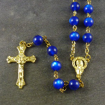 Dark blue resin round rosary beads 56cm length gold chain
