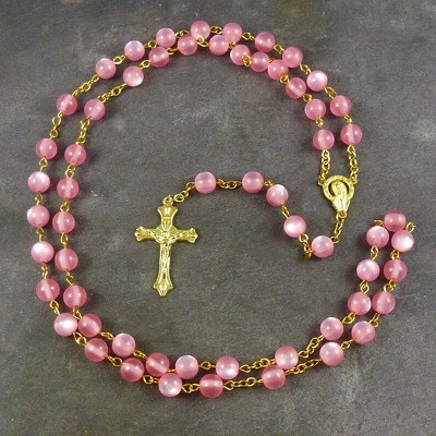 Pink resin round rosary beads 56cm length gold chain