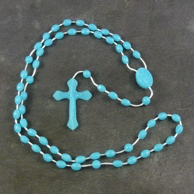 Blue plastic basic oval rosary beads 42cm length