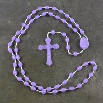 Purple plastic basic oval rosary beads 42cm length
