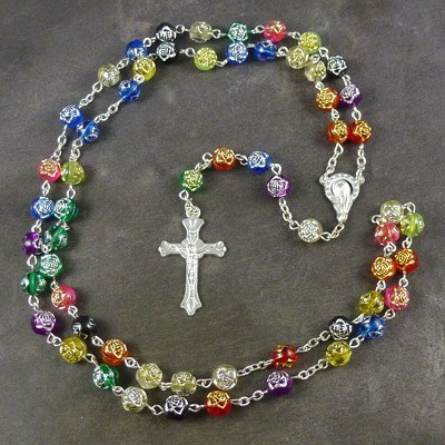 Rainbow rose flower resin rosary beads 56cm length