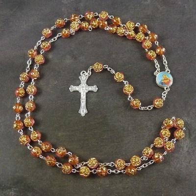 Orange rose flower plastic rosary beads 56cm length