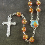 Orange rose flower plastic rosary beads 56cm length