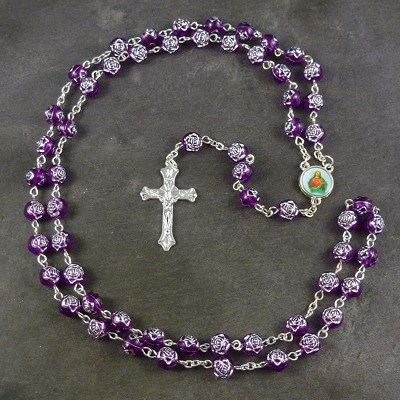 Purple rose flower plastic rosary beads 56cm length