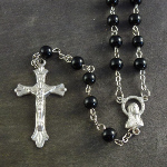 Black round glass rosary with silver center 50cm length