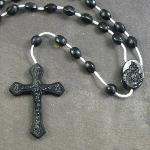 Black plastic basic oval rosary beads 42cm length