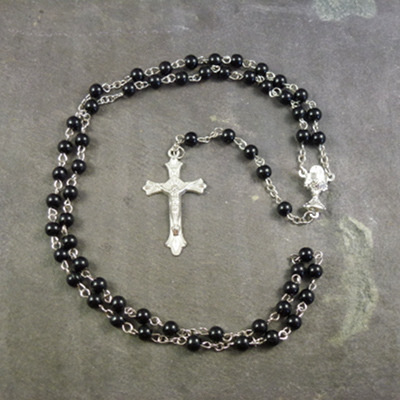 Black plastic round 6mm Communion rosary beads silver center 48cm length