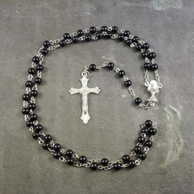 Black plastic round 6mm Communion rosary beads silver center 48cm length