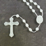 Glow in the dark plastic basic oval rosary beads 42cm length