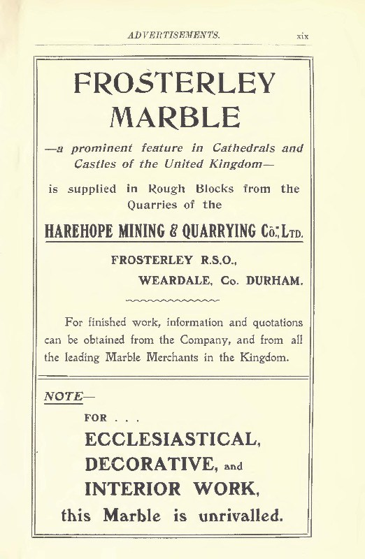 frosterley marble advert