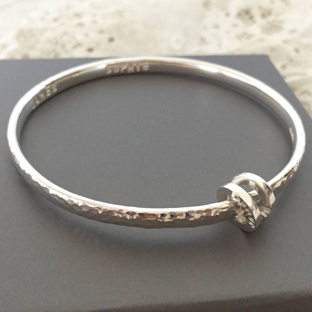 Hammered bangle with personalised loop