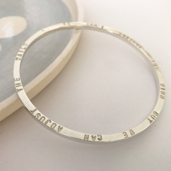 """Sterling silver bangle """"we can't direct the wind but we can adjust the sails"""""""