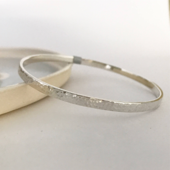 Hammered finish bangle sterling silver flat style bangle