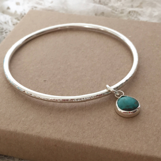 Hammered finish bangle with Turquoise December birthstone bangle silver ban