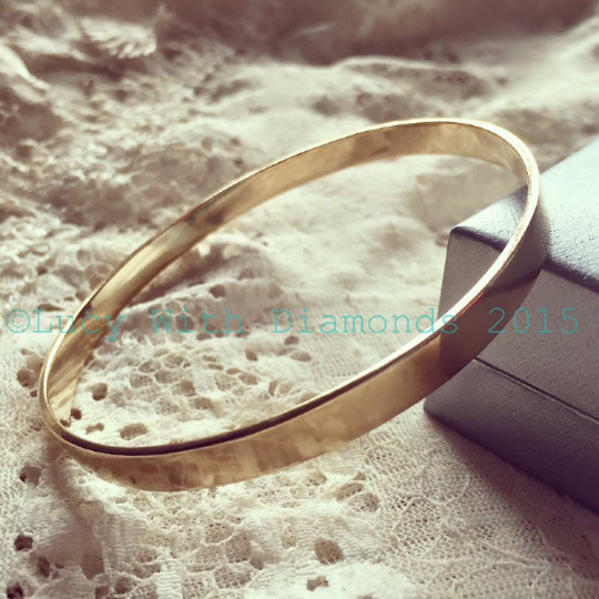 9ct yellow gold bangle polished finish solid yellow gold bangle UK hallmark