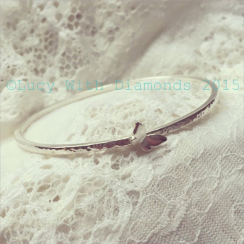 Sterling silver hammered finish stacking bangle with butterfly