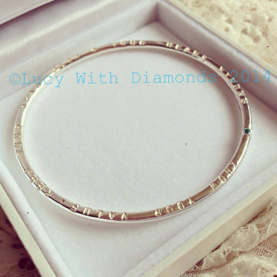 Personalised bangle with gemstone in sterling silver