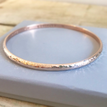 9ct Rose Gold hammered finish bangle solid 9ct rose gold
