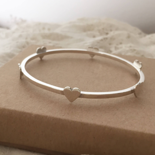 Heart bangle with 6 hearts stacking bangle in sterling silver valentines