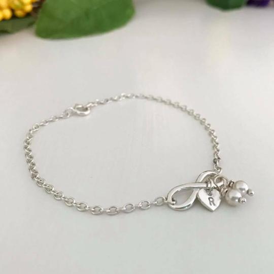 Infinity bracelet heart bracelet pearl bracelet personalised bracelet ideal