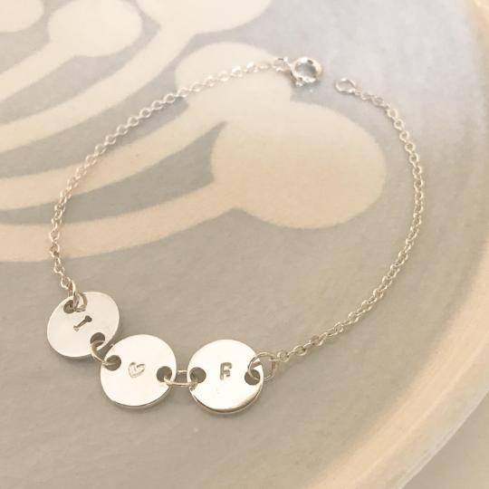 Little disc initial bracelet silver circle bracelet silver initial bracelet