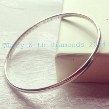 Polished sterling silver bangle, can be personalised
