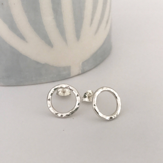Hammered circle stud earrings in sterling silver