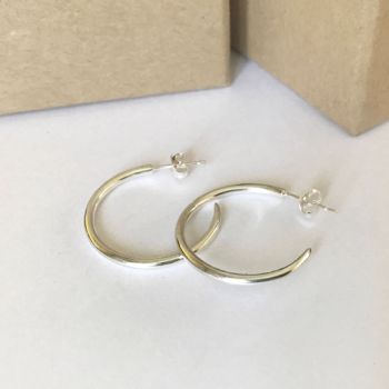 Silver handmade hoop earrings with post fitting