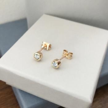 Aquamarine stud earrings 9ct yellow gold aquamarine studs rubover birthstone studs