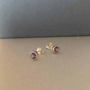 Amethyst silver stud earrings sterling silver february birthstone