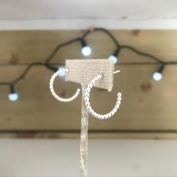 Beaded hoop earring sterling silver