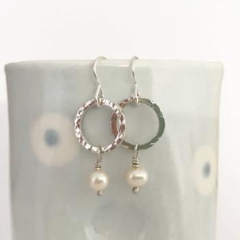 Hammered silver earrings silver and pearl drop earrings circle earrings