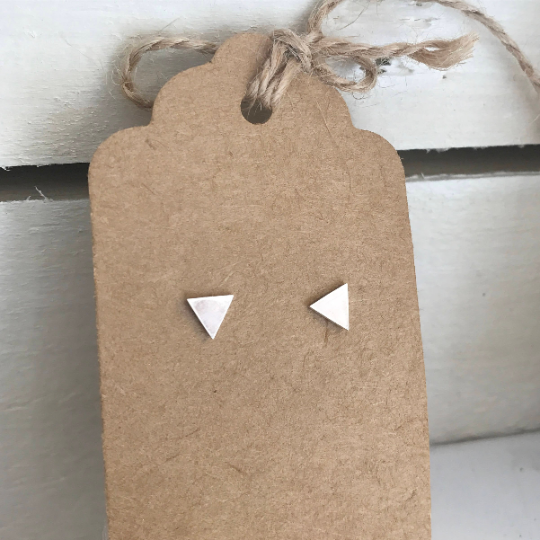 Triangle stud earrings in polished sterling silver