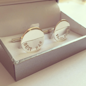 Personalised sterling silver cufflinks round cufflinks