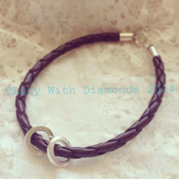 Brown leather personalised bracelet with sterling silver loops and clasp