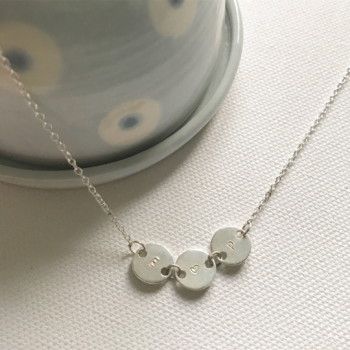 Little disc initial necklace silver circle necklace initial necklace