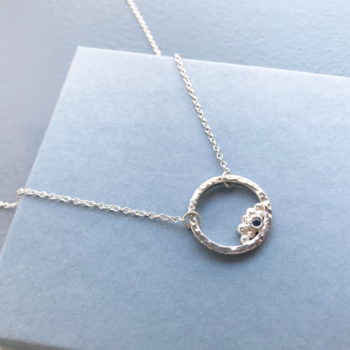 Sterling silver sapphire circle necklace