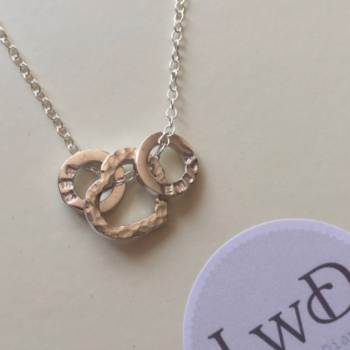Personalised heart necklace with personalised loops for children's names dates