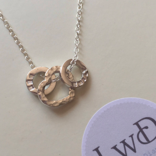 Personalised heart necklace with personalised loops for children's names da
