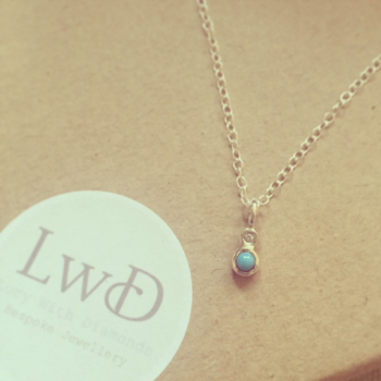 Diamond and Turquoise silver pendant