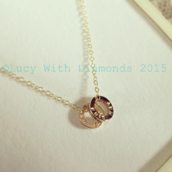 Personalised loop necklace in 9ct yellow gold on 9ct yellow gold chain